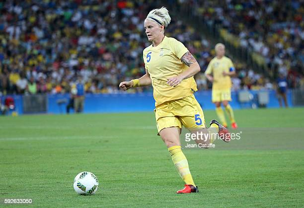 Nilla Fischer of Sweden in action during the Women's Soccer Final between Germany and Sweden at Maracana Stadium on August 19 2016 in Rio de Janeiro...