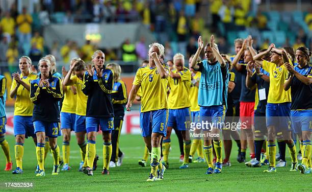 Nilla Fischer of Sweden looks dejected after the UEFA Women's Euro 2013 semi final match between Sweden and Germany at Gamla Ullevi on July 24 2013...
