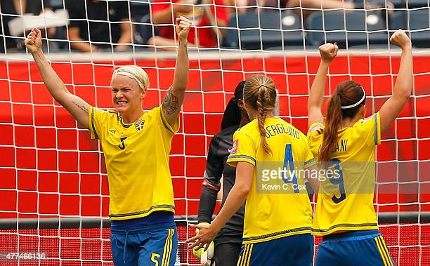 Nilla Fischer of Sweden reacts after scoring the second goal against goalkeeper Precious Dede of Nigeria during the FIFA Women's World Cup Canada...