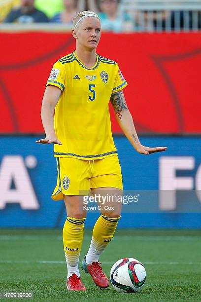 Nilla Fischer of Sweden reacts in the second half against the United States in the FIFA Women's World Cup Canada 2015 match at Winnipeg Stadium on...