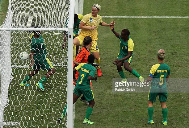Nilla Fischer of Sweden scores their first goal during the Women's Group E first round match between Sweden and South Africa during the Rio 2016...
