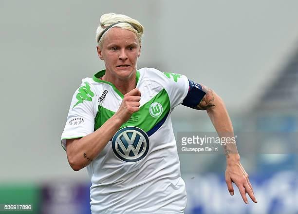 Nilla Fischer of VfL Wolfsburg in action during UEFA Women's Champions League Final between VfL Wolfsburg v Olympique Lyonnais at Mapei Stadium on...