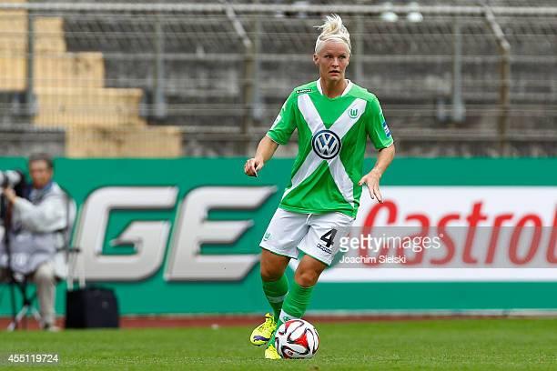 Nilla Fischer of Wolfsburg during the Allianz Women's Bundesliga match between VfL Wolfsburg and SC Freiburg on August 30 2014 in Wolfsburg Germany