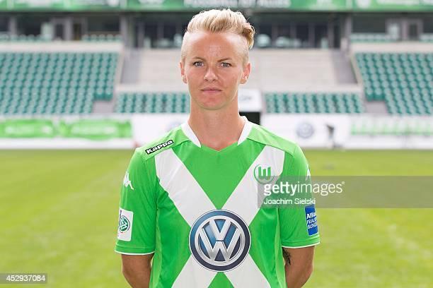 Nilla Fischer poses during the VfL Wolfsburg Women's team presentation on July 30 2014 in Wolfsburg Germany