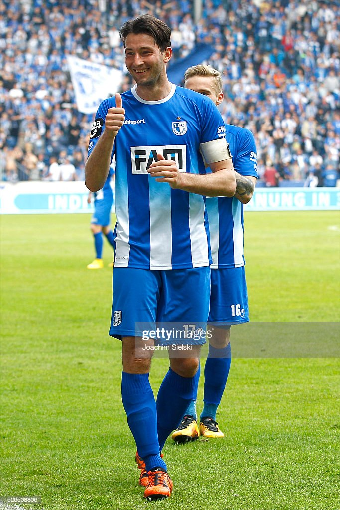 Nils Butzen of Magdeburg celebrate after the Third League match between 1. FC Magdeburg and SG Sonnenhof-Grosssaspach at MDCC-Arena on April 30, 2016 in Magdeburg, Germany.