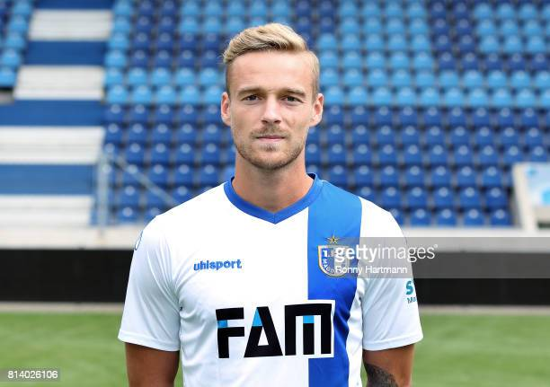 Nils Butzen poses during the team presentation of 1 FC Magdeburg at MDCCArena on July 13 2017 in Magdeburg Germany