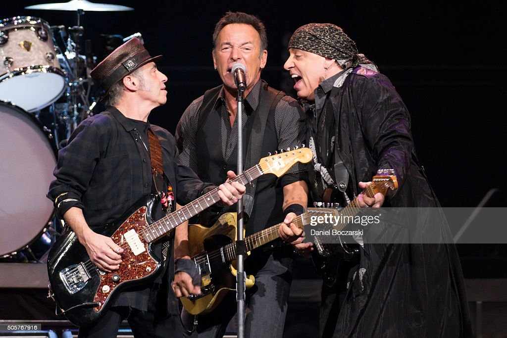 Nils Lofgren, Bruce Springsteen and Steven Van Zandt of Bruce Springsteen And The E Street Band perform during The River Tour 2016 at United Center on January 19, 2016 in Chicago, Illinois.