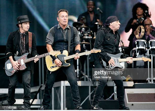 Nils Lofgren Bruce Springsteen and Steven Van Zandt perform at Goffertpark on June 22 2013 in Nijmegen Netherlands