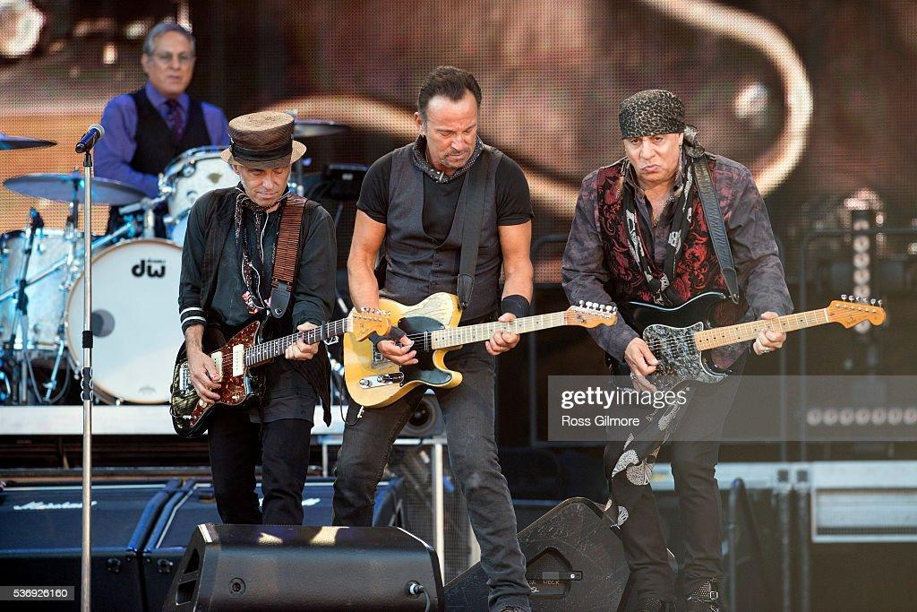 Nils Lofgren, Bruce Springsteen, Steven Van Zandt perform with the E Street Band at Hampden Park on June 1, 2016 in Glasgow, Scotland.