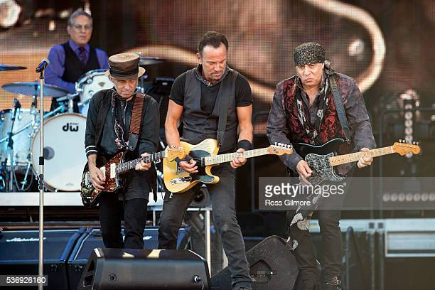 Nils Lofgren Bruce Springsteen Steven Van Zandt perform with the E Street Band at Hampden Park on June 1 2016 in Glasgow Scotland