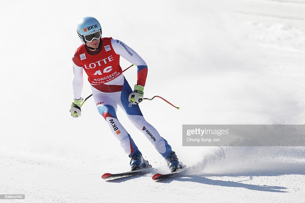 Nils Mani of Switzerland reacts during the Men's Super G Finals during the 2016 Audi FIS Ski World Cup at the Jeongseon Alpine Centre on February 7, 2016 in Jeongseon-gun, South Korea.