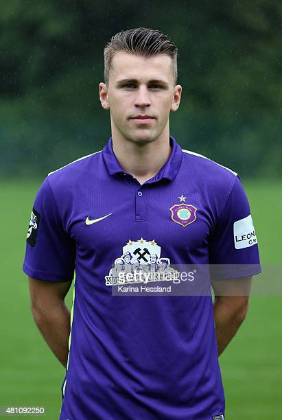 Nils Miatke poses during the official team presentation of Erzgebirge Aue at ground 2 on July 14 2015 in Aue Germany