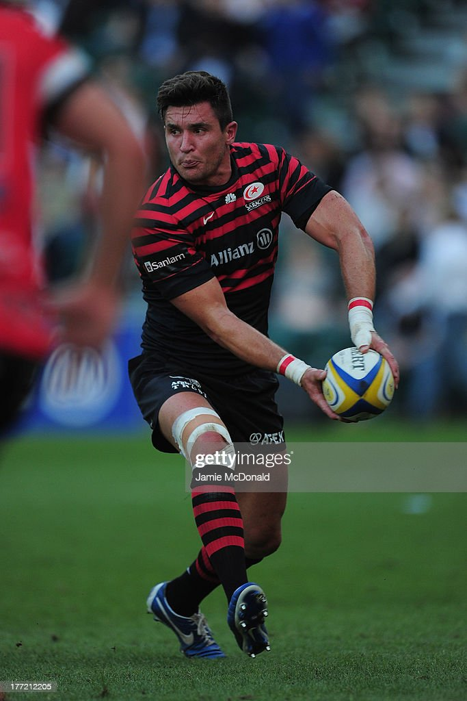Nils Mordt of Saracens in action during the pre season friendly match between Saracens and Cornish Pirates at Honourable Artillery Company on August 22, 2013 in London, England.