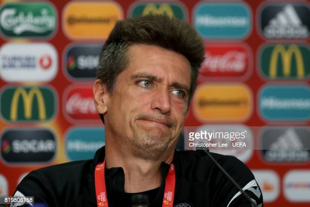 Nils Nielsen coach of Denmark talks to the press after the UEFA Women's Euro 2017 Group A match between Netherlands and Denmark at Sparta Stadion on...