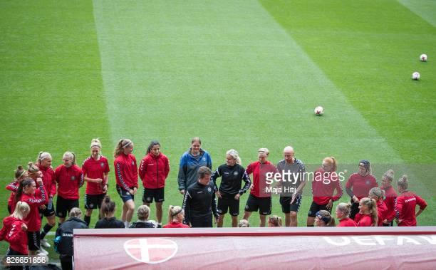 Nils Nielsen talks to the team during a training prior UEFA Women's Euro 2017 Final against Netherlands at De Grolsch Veste Stadium on August 5 2017...