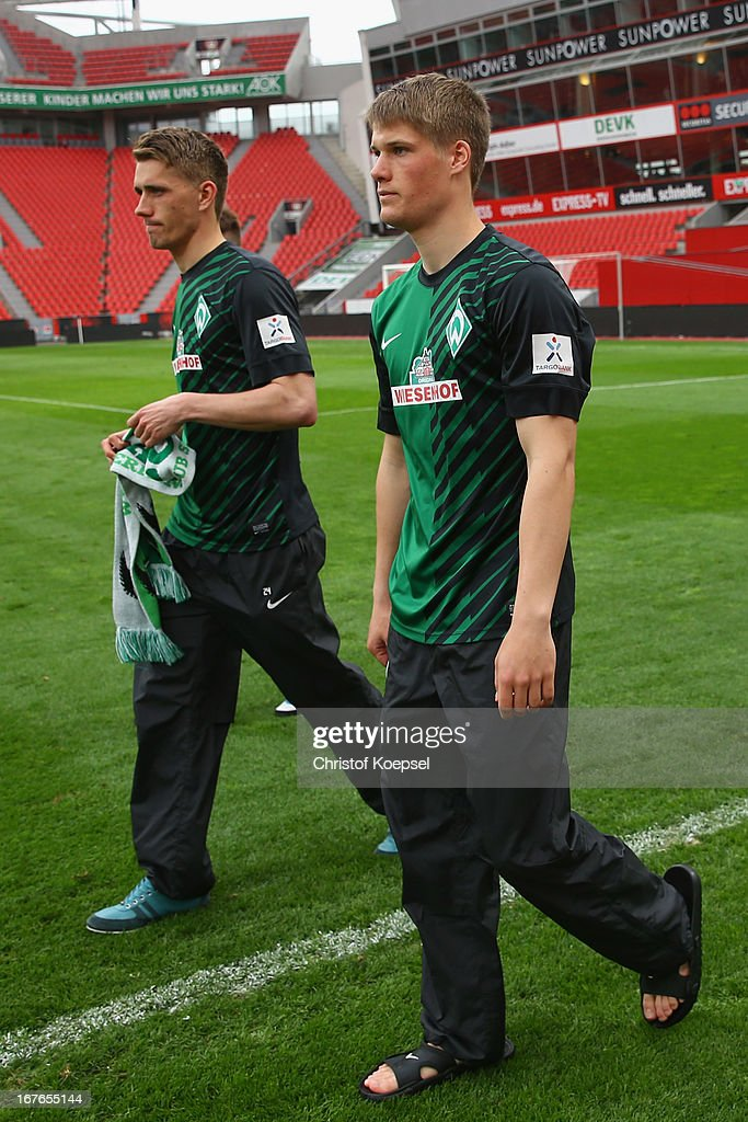 <a gi-track='captionPersonalityLinkClicked' href=/galleries/search?phrase=Nils+Petersen&family=editorial&specificpeople=4400792 ng-click='$event.stopPropagation()'>Nils Petersen</a> and Johannes Wurtz of Bremen walk off the pitch after the Bundesliga match between Bayer 04 Leverkusen and SV Werder Bremen at BayArena on April 27, 2013 in Leverkusen, Germany. The match between Leverkusen and Bremen ended 1-0.