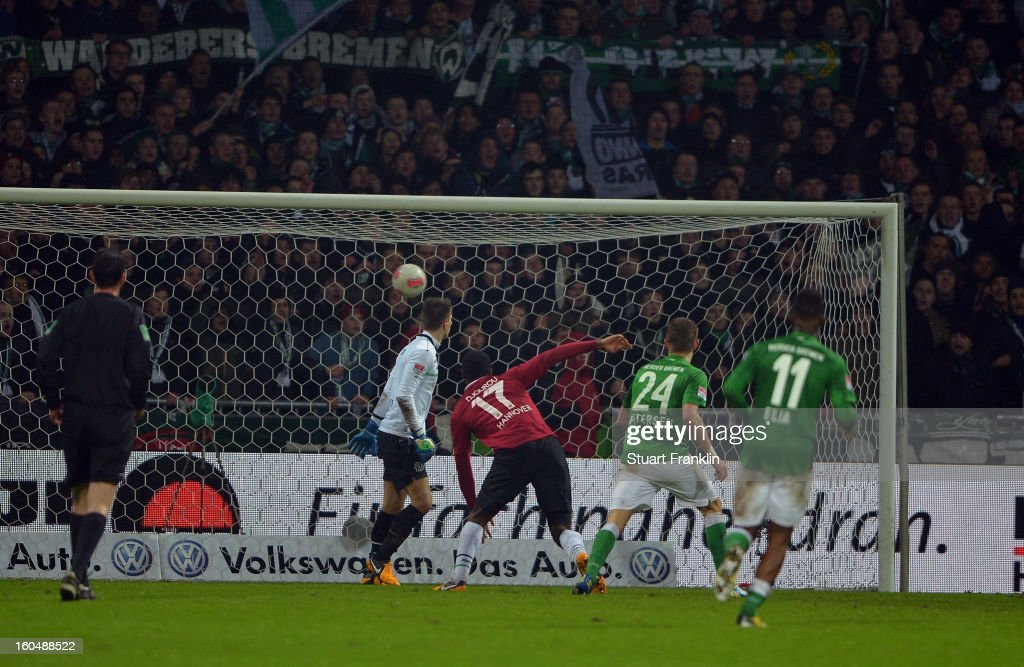 <a gi-track='captionPersonalityLinkClicked' href=/galleries/search?phrase=Nils+Petersen&family=editorial&specificpeople=4400792 ng-click='$event.stopPropagation()'>Nils Petersen</a> of Bremen scores the second goal during the Bundesliga match between SV Werder Bremen and Hannover 96 at Weser Stadium on February 1, 2013 in Bremen, Germany.