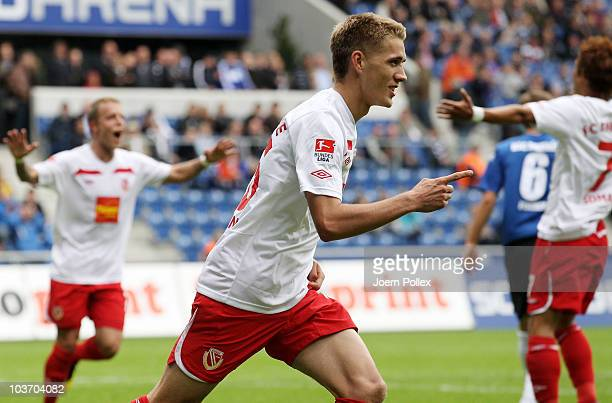 Nils Petersen of Cottbus celebrates after scoring his team's first goal during the Second Bundesliga match between Arminia Bielefeld and Energie...