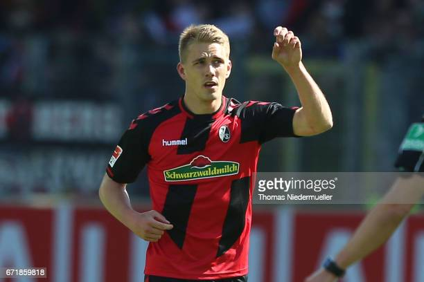 Nils Petersen of Freiburg celebrates his goal during the Bundesliga match between SC Freiburg and Bayer 04 Leverkusen at SchwarzwaldStadion on April...