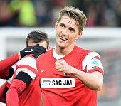 Nils Petersen of Freiburg celebrates his second goal during the Bundesliga match between SC Freiburg and Eintracht Frankfurt at SchwarzwaldStadium on...