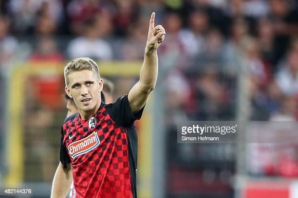 Nils Petersen of Freiburg celebrates his team's first goal during the 2 Bundesliga match between SC Freiburg and 1 FC Nuernberg at SchwarzwaldStadion...