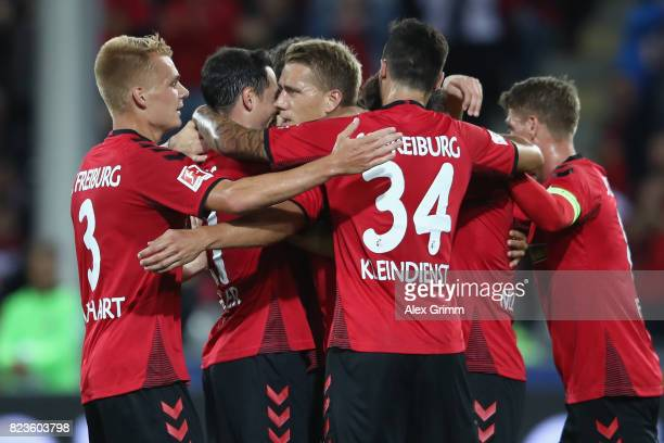 Nils Petersen of Freiburg celebrates his team's first goal with team matesduring the UEFA Europa League Third Qualifying Round first leg match...