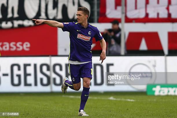 Nils Petersen of Freiburg celebrates his team's second goal during the Second Bundesliga match between SV Sandhausen and SC Freiburg at...