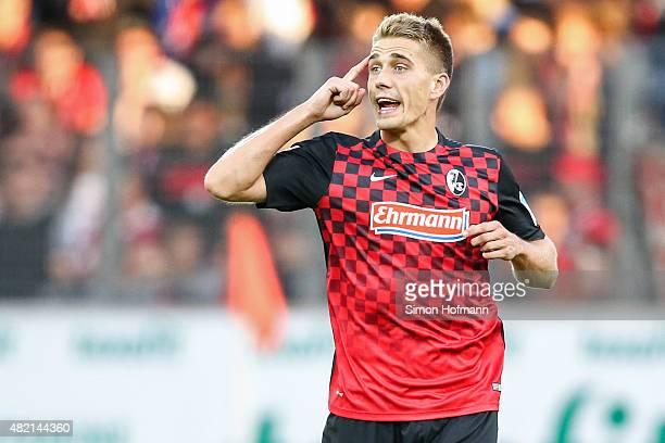 Nils Petersen of Freiburg celebrates his team's third goal during the 2 Bundesliga match between SC Freiburg and 1 FC Nuernberg at SchwarzwaldStadion...