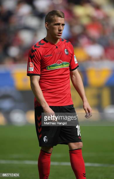 Nils Petersen of Freiburg looks on during the Bundesliga match between SC Freiburg and FC Ingolstadt 04 at SchwarzwaldStadion on May 13 2017 in...