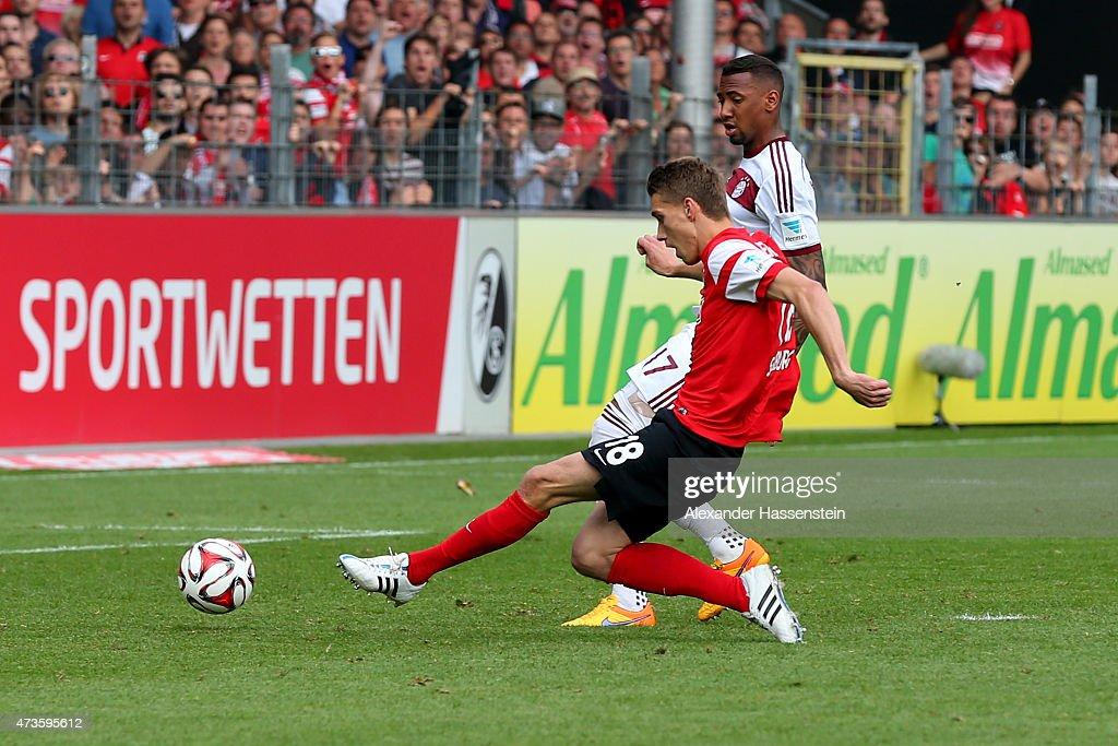 Nils Petersen of Freiburg scores the second etam goal during the Bundesliga match between Sport Club Freiburg and FC Bayern Muenchen at Schwarzwald-Stadion on May 16, 2015 in Freiburg im Breisgau, Germany.