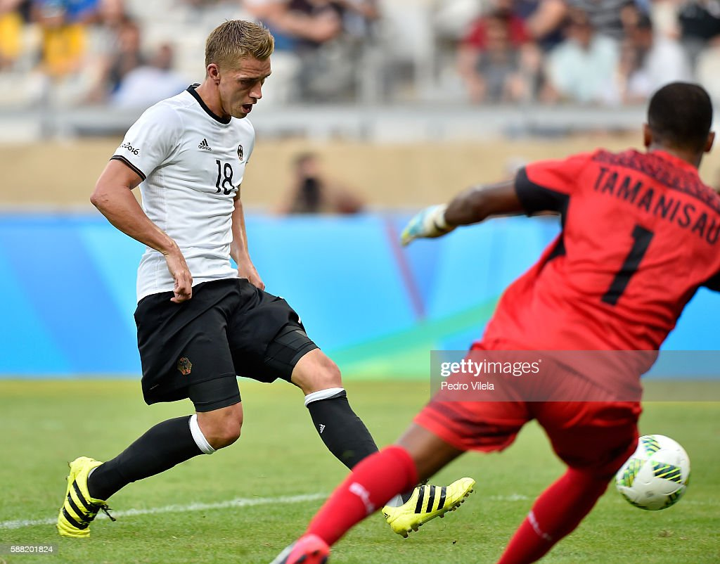 Nils Petersen of Germany scores a goal against goalkeeper Simione Tamanisau of Fiji during the Men's First Round Football Group C match between Germany and Fiji at Mineirao Stadium on August 10, 2016 in Belo Horizonte, Brazil.