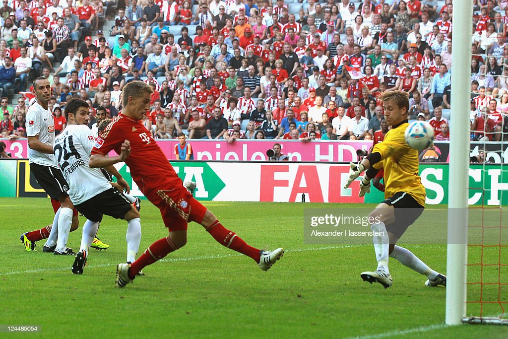Nils Petersen of Muenchen scores the 7th goal during the Bundesliga match between FC Bayern Muenchen and SC Freiburg at Allianz Arena on September 10, 2011 in Munich, Germany.