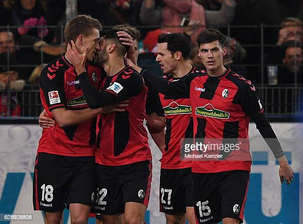Nils Petersen Vincenzo Grifo Nicolas Hoefler and Pascal Stenzel of SC Freiburg celebrating goal of Nils Petersen during the Bundesliga match between...