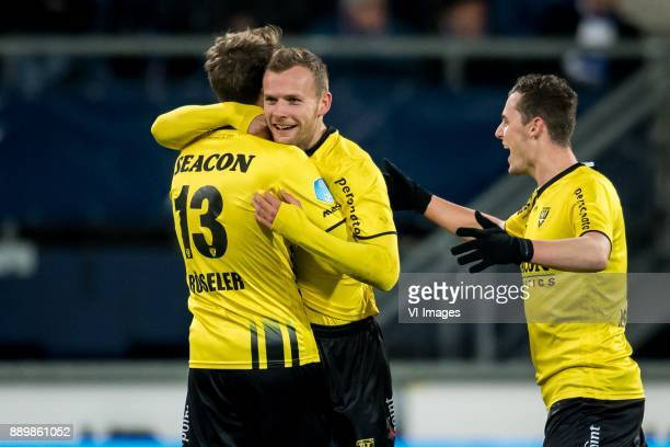 Nils Roseler of VVV Lennart Thy of VVV Damian van Bruggen of VVV during the Dutch Eredivisie match between sc Heerenveen and VVV Venlo at Abe Lenstra...