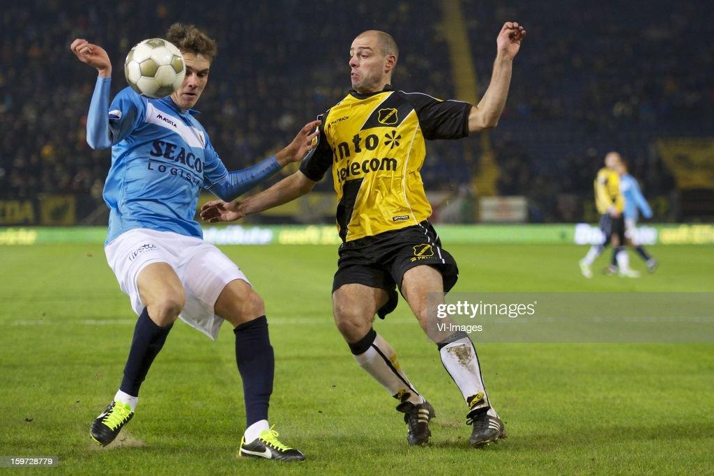 Nils Roseler of VVV Venlo, Anthony Lurling of NAC Breda during the Dutch Eredivise match between NAC Breda and VVV-Venlo at the Rat Verlegh Stadium on January 19, 2013 in Breda, The Netherlands.