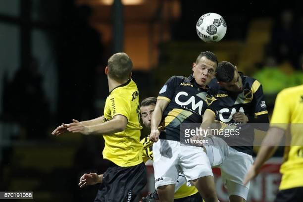 Nils Roseler of VVV Venlo Johnatan Opoku of VVV Venlo Giovanni Korte of NAC Breda Rai Vloet of NAC Breda during the Dutch Eredivisie match between...