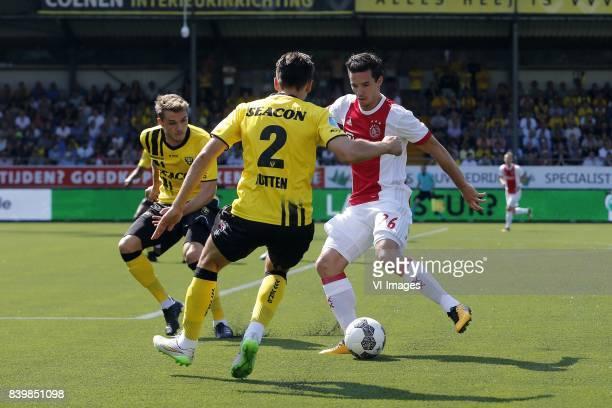 Nils Roseler of VVVVenlo Moreno Rutten of VVVVenlo Nick Viergever of Ajax during the Dutch Eredivisie match between VVV Venlo and Ajax Amsterdam at...