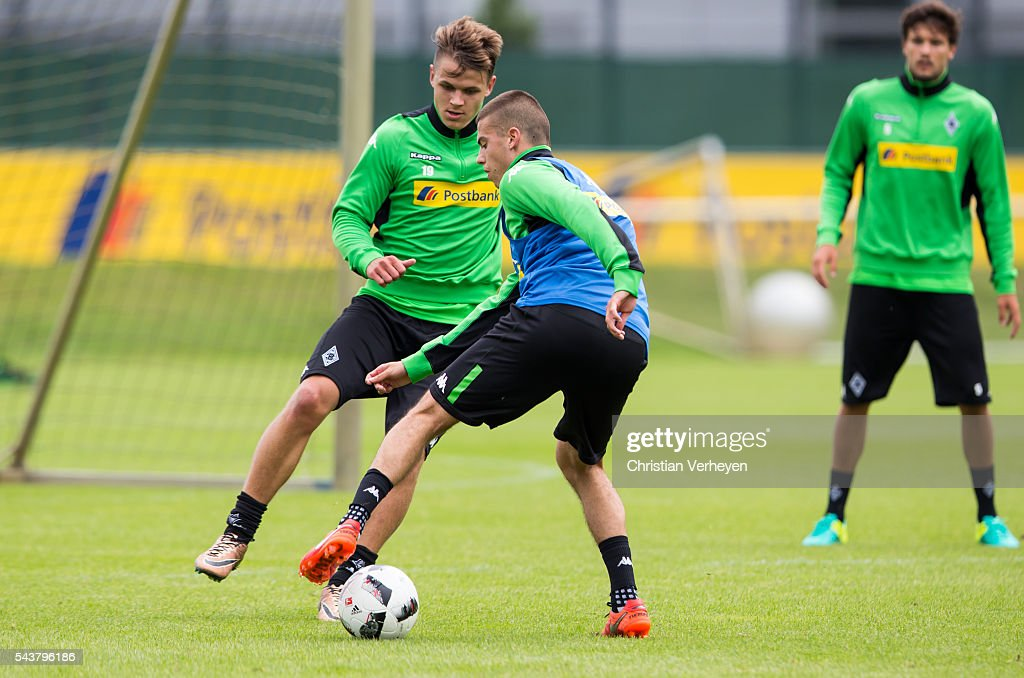 Nils Ruetten and Laszlo Benes battle for the ball during a training session at Borussia-Park on June 30, 2016 in Moenchengladbach, Germany.