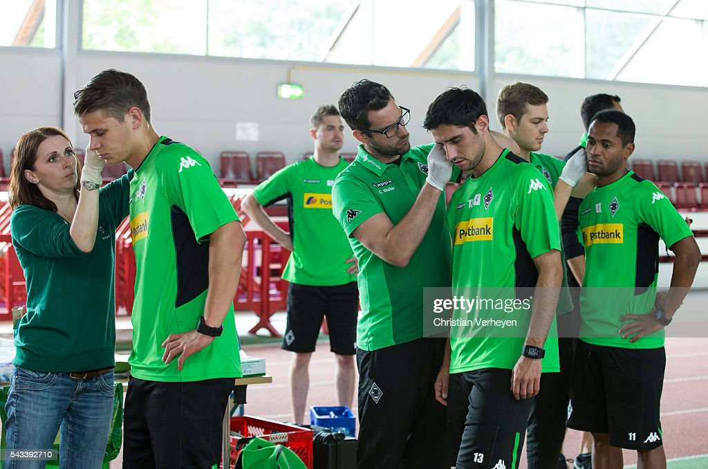 Nils Ruetten, Lars Stindl and Raffael of Borussia Moenchengladbach during a Lactate Test in Duesseldorf on June 28, 2016 in Moenchengladbach, Germany.