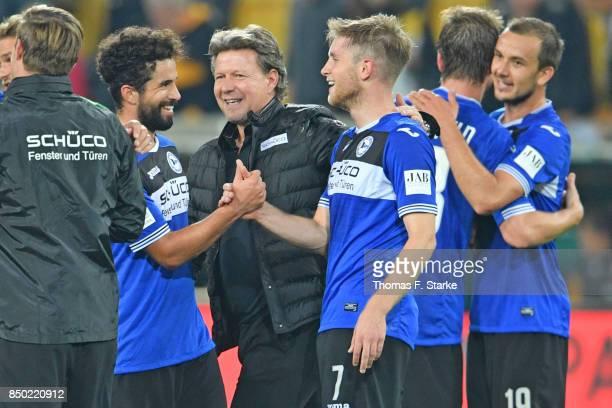 Nils Teixeira coach Jeff Saibene Patrick Weihrauch Julian Boerner and Manuel Prietl of Bielefeld celebrate after winning the Second Bundesliga match...