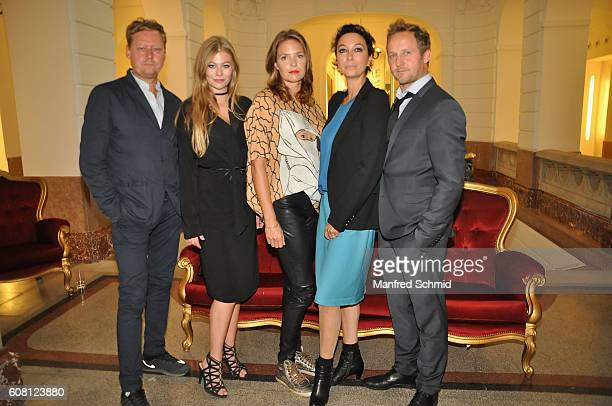 Nils Willbrandt Zoe Straub Patricia Aulitzky Ursula Strauss and Maximilian Brueckner pose during the 'Pregau Kein Weg Zurueck' Vienna presentation at...