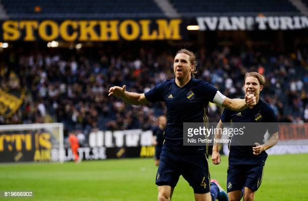 NilsEric Johansson of AIK celebrates after scoring to 10 during the UEFA Europa League qualifying match between AIK and FK Zeljeznicar at Friends...