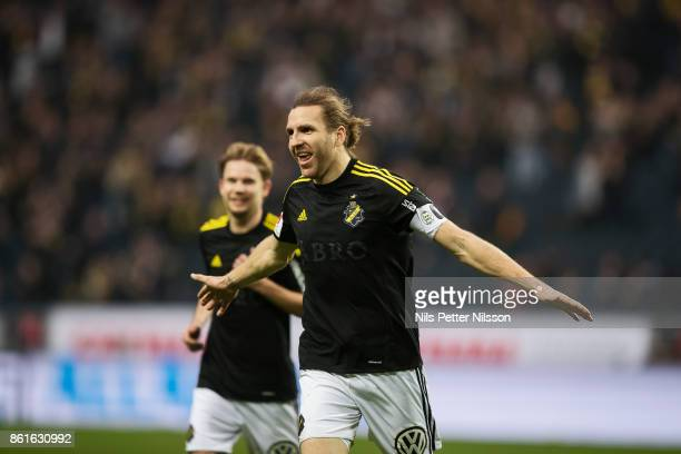 NilsEric Johansson of AIK celebrates after scoring to 20 during the Allsvenskan match between AIK and Jonkopings Sodra IF at Friends Arena on October...