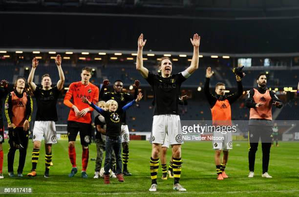 NilsEric Johansson of AIK celebrates after the victory during the Allsvenskan match between AIK and Jonkopings Sodra IF at Friends Arena on October...