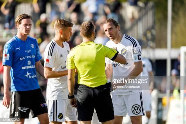 NilsEric Johansson of AIK during the Allsvenskan match between Halmstad BK and AIK at Orjans Vall on May 6 2017 in Halmstad Sweden