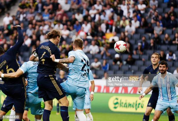 NilsEric Johansson of AIK scores the opening goal to 10 during the UEFA Europa League qualifying match between AIK and FK Zeljeznicar at Friends...