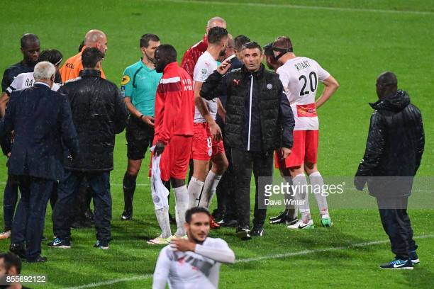 Nimes coach Bernard Blanquart after complaining to referee Jeremy Stinat after his side had a late goal disallowed during the Ligue 2 match between...