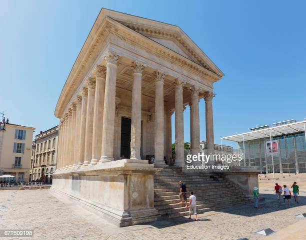 Nimes Gard Department LanguedocRoussillon France The first century BC Roman temple known as Maison Carree