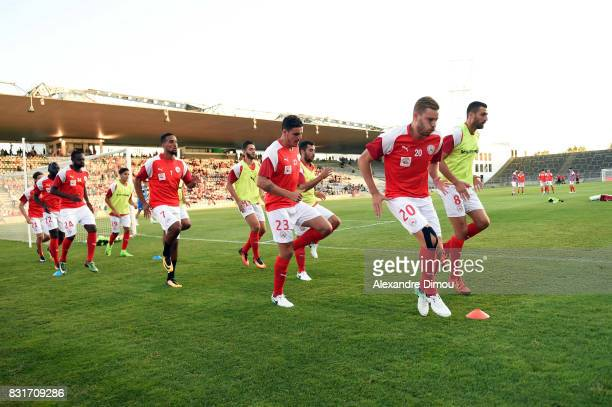 Nimes players during the Ligue 2 match between Nimes Olympique and As Nancy Lorraine at Stade des Costieres on August 14 2017 in Nimes