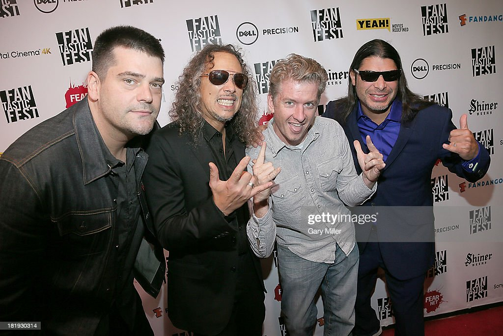 Nimrod Antal Kirk Hammett Tim League and Robert Trujillo on the red carpet at the screening of the film 'Metallica Through The Never' during...